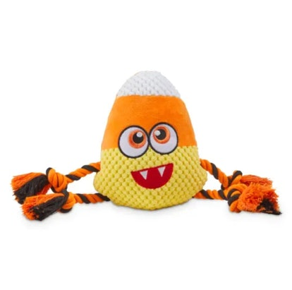 Bootique Born of Corn Candy Corn Halloween Plush & Rope Dog Toy