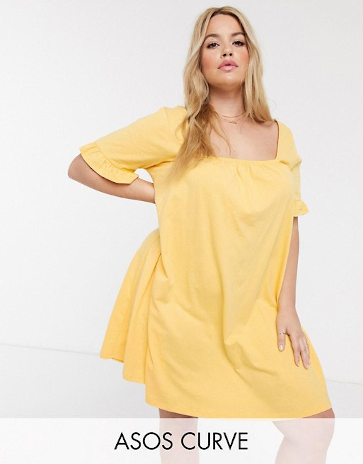ASOS DESIGN Curve Square Neck Frill Sleeve Smock Dress in Buttermilk
