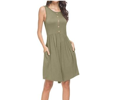 levaca Button Up Tank Dress