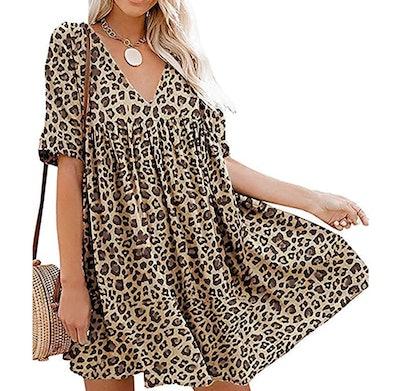 Hestenve Women's Short Sleeve Mini Dress