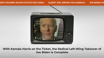 A Trump campaign against Joe Biden, in which the latter is seen on an old TV. The title reads: With Kamala Harris on the ticket, the radical left-wing takeover of Joe Biden is complete.