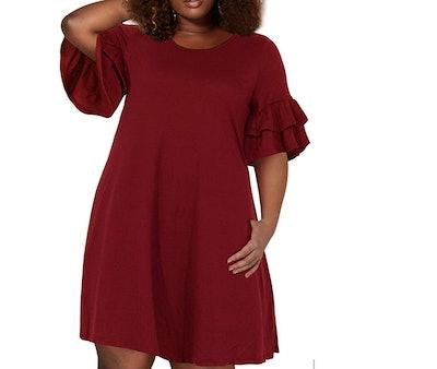 Nemidor Women's Ruffle Sleeve Swing Dress