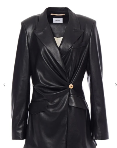 Blair Wrap-Effect Vegan Leather Blazer