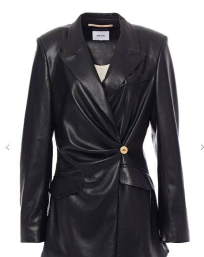 Blair Wrap-Effect Vegan Leather Blazer