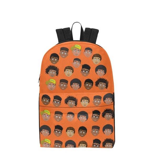 orange backpack from epic everyday with diverse characters