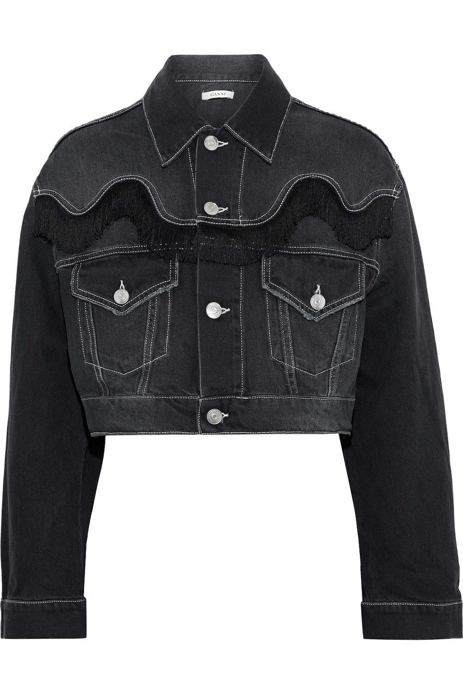 Rienzi cropped fringe-trimmed denim jacket
