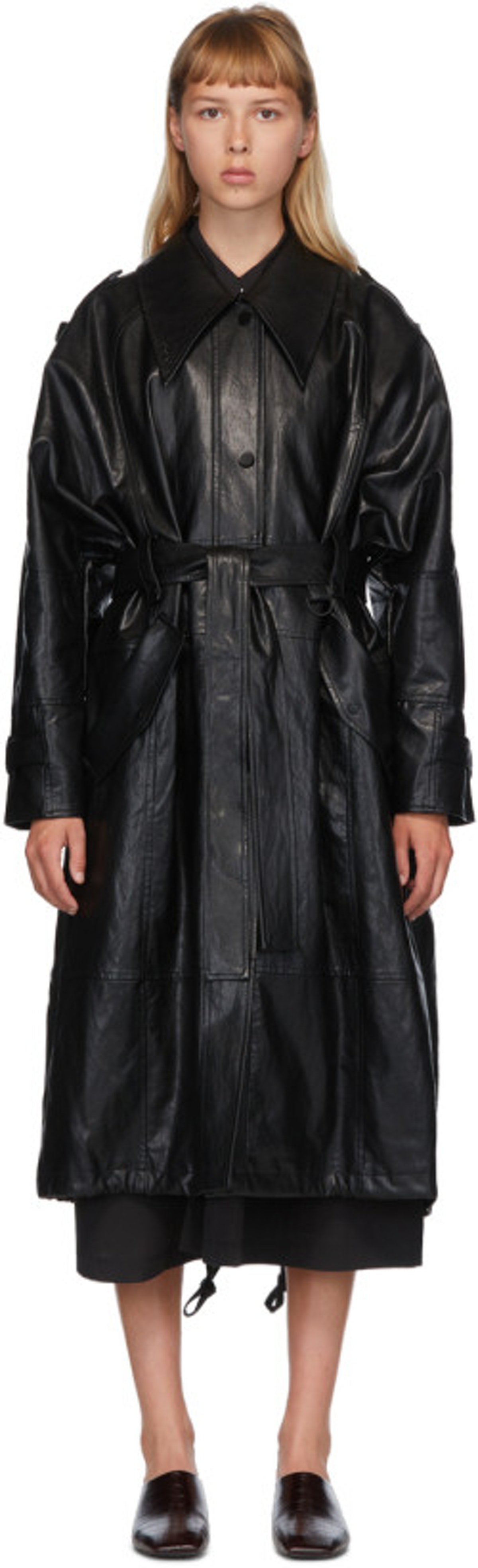 Black Faux-Leather Trench Coat