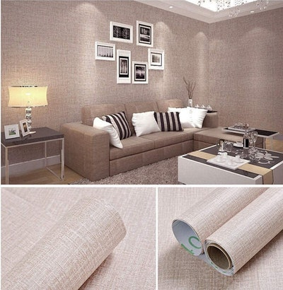Yancorp Faux Grasscloth Peel and Stick Linen Wallpaper