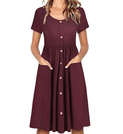OUGES Women's V Neck Button Down Dress