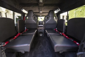The interior of an electric Defender.