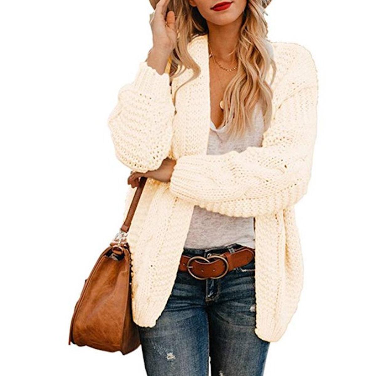 Isaac Liev Women Open Front Long Sleeve Knit Cardigan