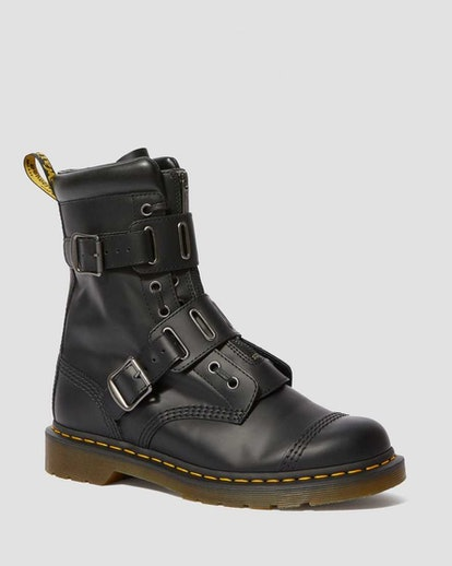 1490 Quynn Smooth Leather Buckle Lace Up Boots