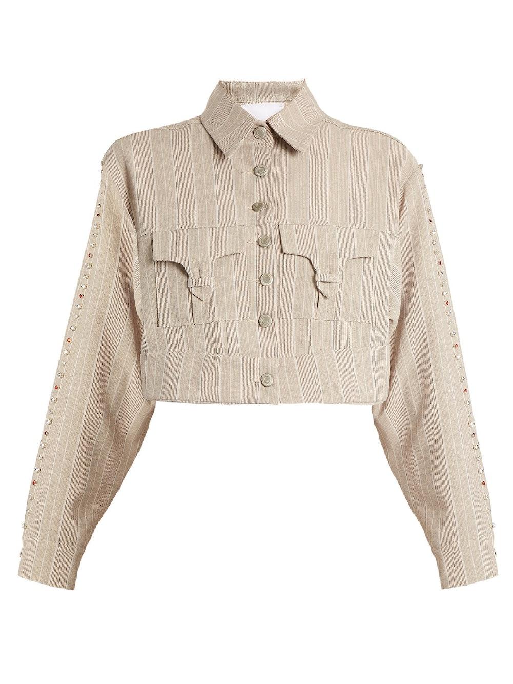 Blow crystal-embellished cotton cropped jacket