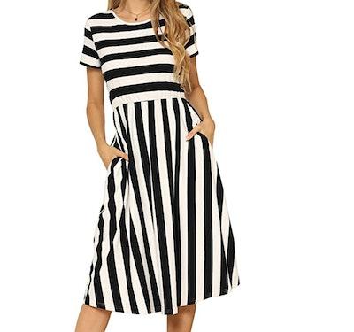 levaca Women's Casual Midi Dress with Pockets