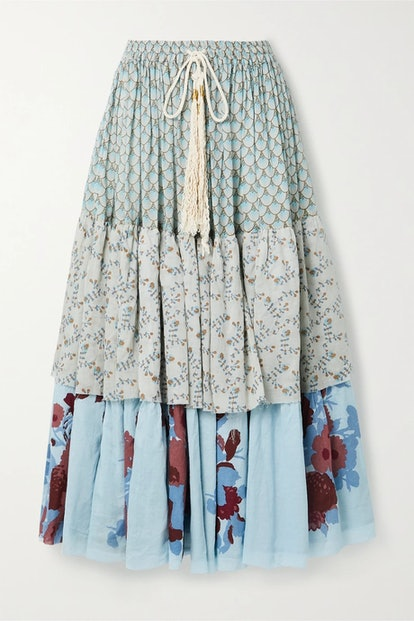 Tiered Floral-Print Cotton-Voile Midi Skirt