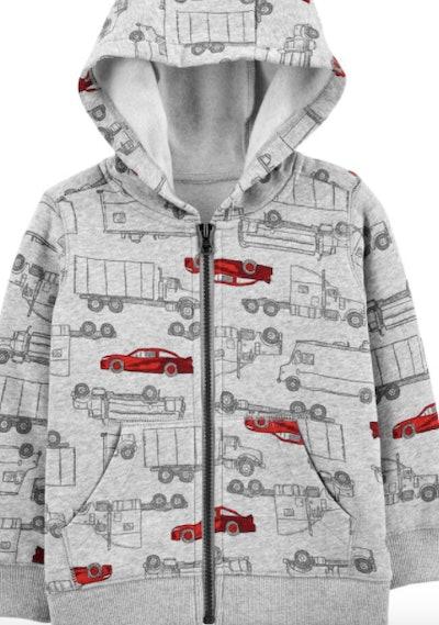 Vehicle Print Zip-Up Fleece-Lined Hoodie