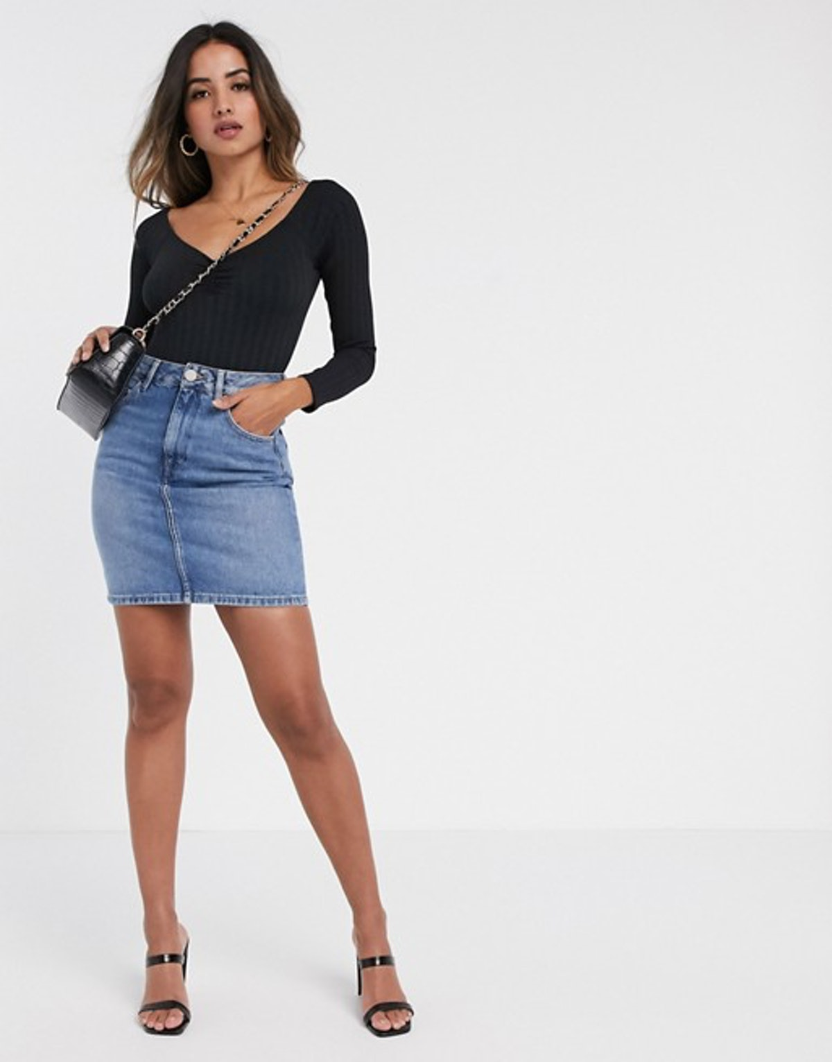 ASOS Design Denim Original High Waisted Skirt in Stonewash Blue