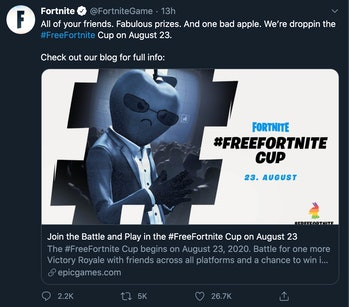 Fortnite FreeFortnite Cup Twitter ad