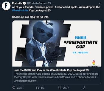 Fortnite FreeFortnite Cup Twitter ad