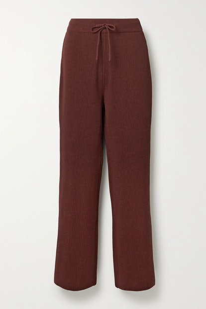 Ribbed cotton straight-leg pants