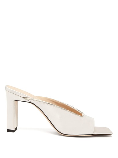 Isa Square-Toe Crystal-Embellished Satin Mules