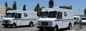 The Postal Service is experimenting with electric delivery vans, like these from Motiv Power Systems. They are far from the norm.