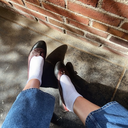 Pair your ballet flats with socks to make them fall appropriate