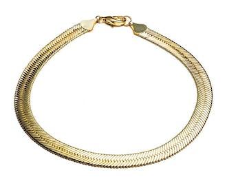 SHORT HERRINGBONE CHAIN NECKLACE - GOLD