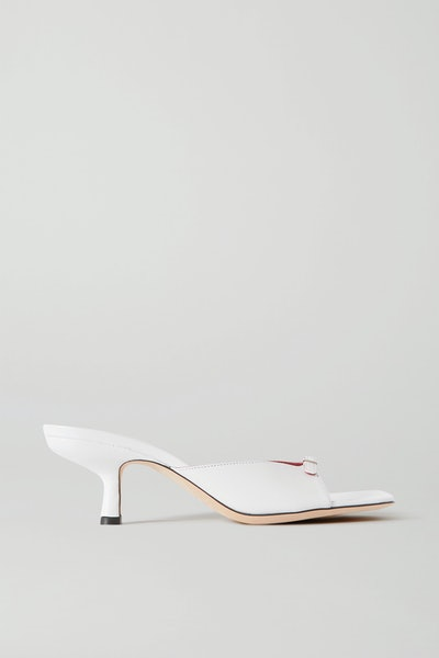 Erin Buckle-Embellished Leather Mules