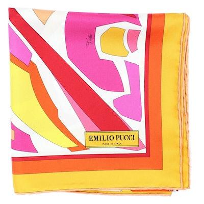 Scarf Orange Yellow Pink Design - Large Twill Silk Square Scarf