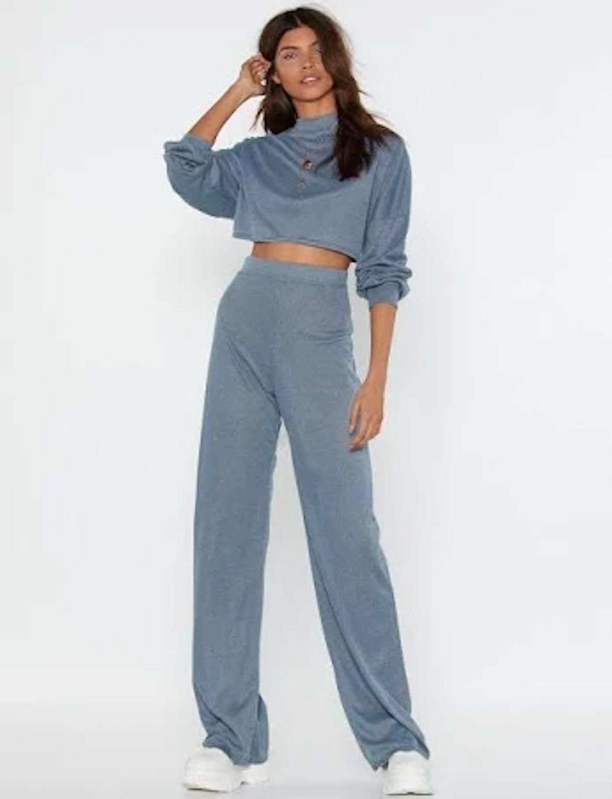 Nasty Gal Back to Basics Crop Top and Pants Lounge Set