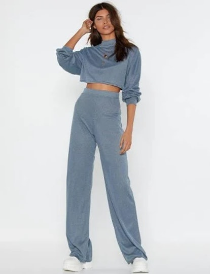 Nasty Gal Back to Basics Crop Top and Pants Lounge Set