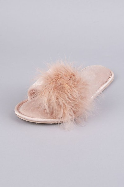 Feathered Slide Slippers