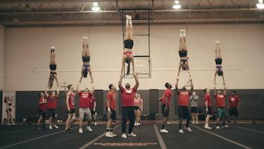 The Navarro College cheer team on 'Cheer.'