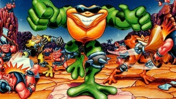 Promotional art of the original Battletoads for NES.