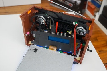 Both speakers attached to the Lego TV.