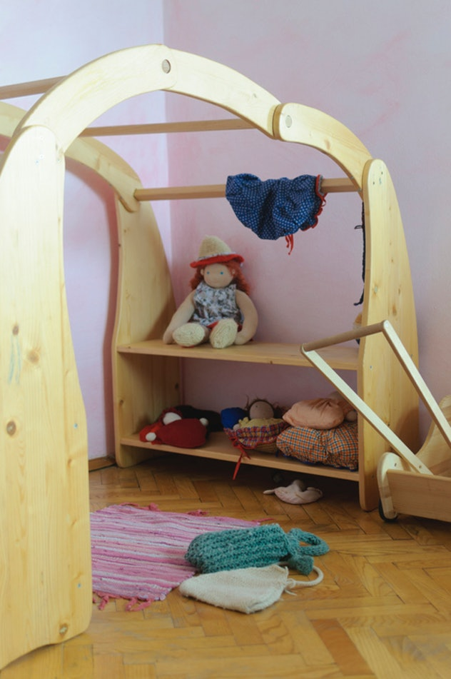 Waldorf tent and toys set up in room