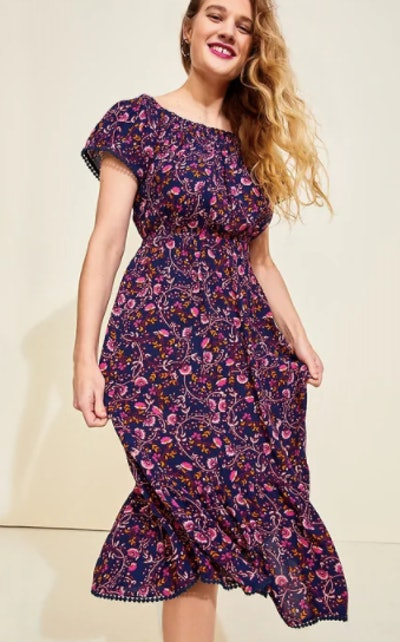 Floral-Print Off-the-Shoulder Waist-Defined Maxi Dress for Women