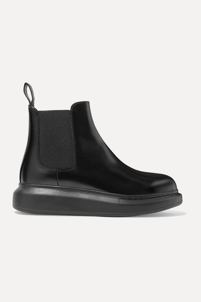 Glossed-Leather Exaggerated-Sole Chelsea Boots