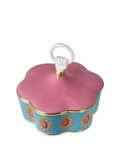 Broche Print Porcelain Box With Hand And Ring