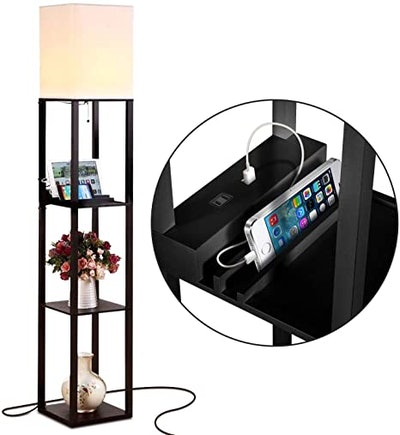 Brightech Maxwell Charger Shelf Floor Lamp