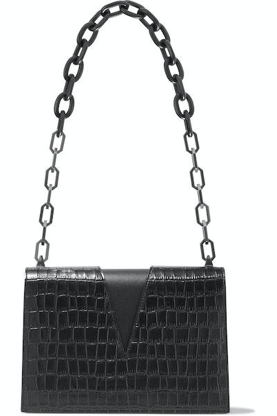 V Cutout Croc-Effect Leather Shoulder Bag