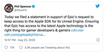 Microsoft is supporting Epic's lawsuit against Apple.