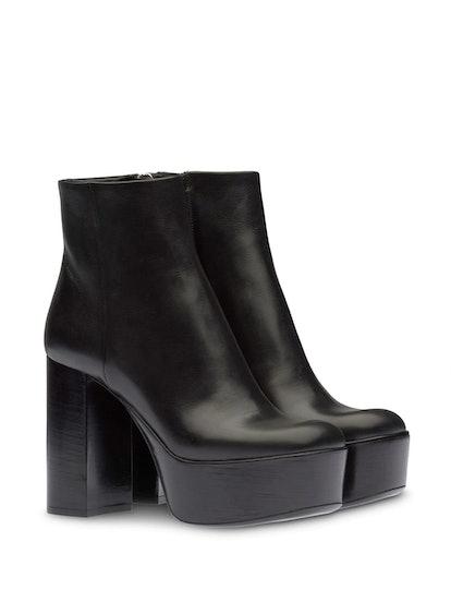 Square-Toe Platform Ankle Boots