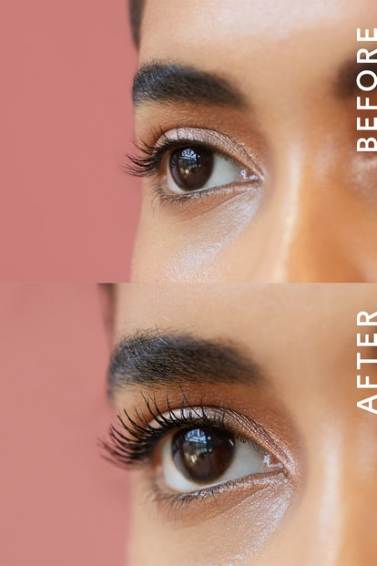 Before and after pictures of EM Cosmetics' Pick Me Up Mascara on eyelashes.