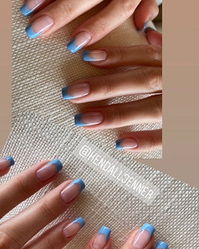 The older Jenner sister's blue French manicure was a colorful take on the classic.