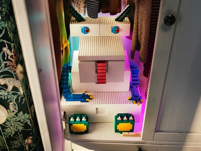 Built up Bygglek boxes designed to look like an adorable monster.