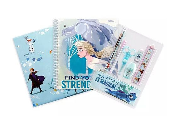 School supply kit with Frozen II characters; Folder, Notebook, and Pouch with essentials is only $6 at disney's back to school sale