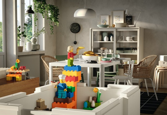 An image of the new Bygglek Ikea Lego and Lego Storage kit in the foreground, with a minifigure chef...