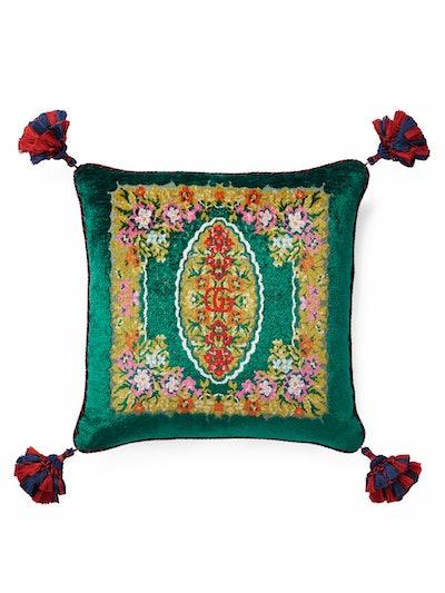 Velvet Floral Jacquard Cushion